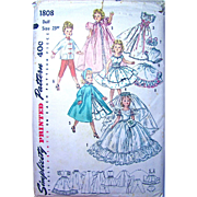 Revlon, Cissy Doll Bridal Pattern, Simplicity 1808, Size 23 Inches, Vintage 1950s, Complete
