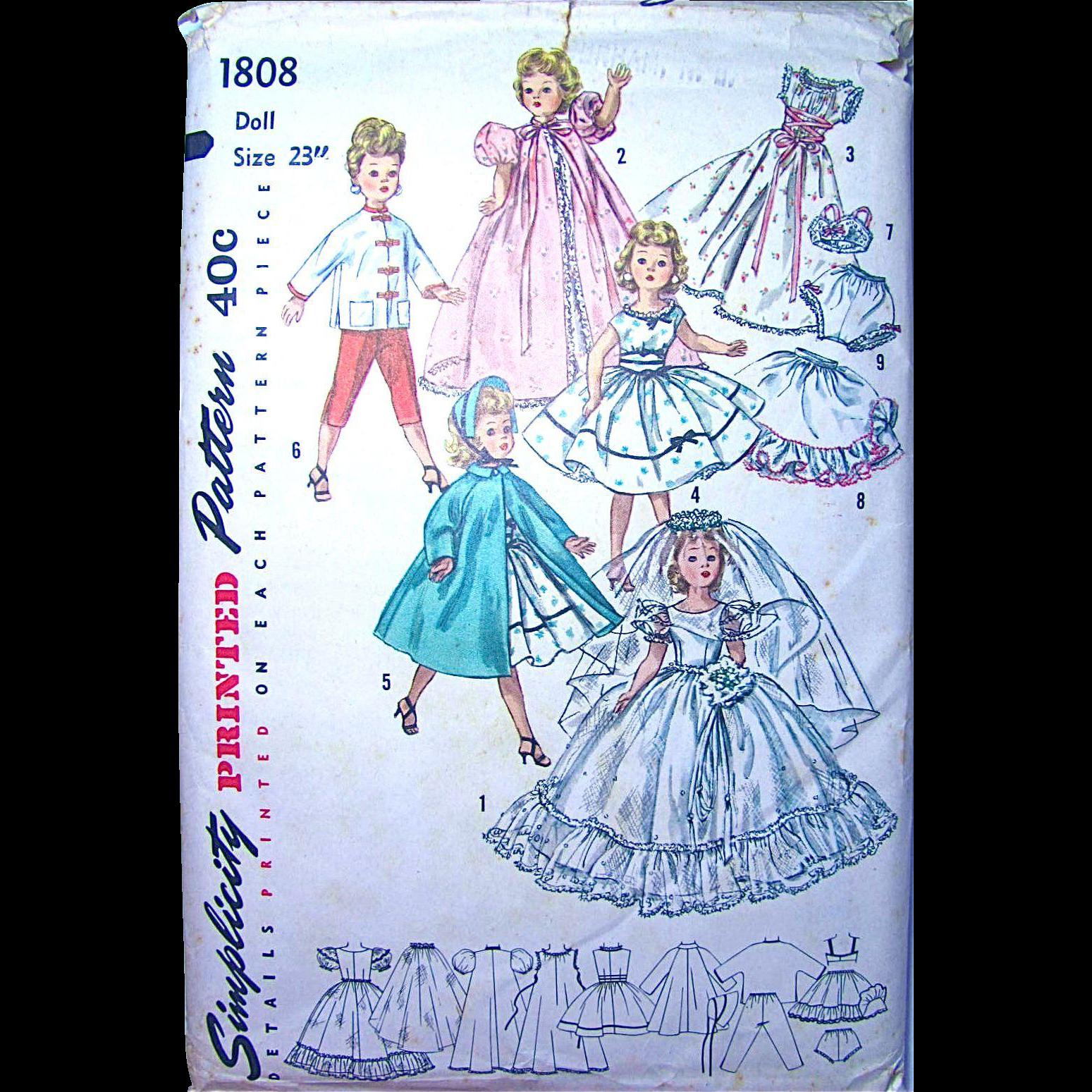 Revlon, Cissy Doll Bridal Pattern, Simplicity 1808, Size 23 Inches, Vintage 1950s, Complete