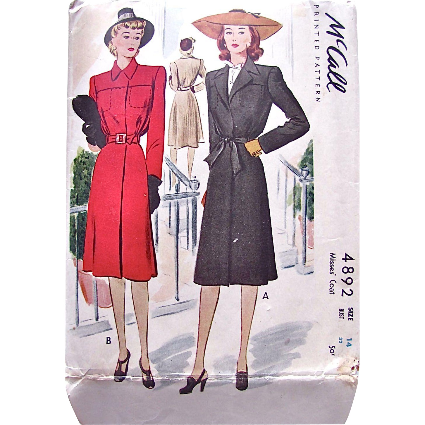 Vintage 1942, Misses' Coat Sewing Pattern, McCall 4892, Cut and Complete, Size 14 Bust 32 Inches