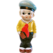 Vintage All Bisque Doll, Made In Japan, Googlie-Eyed Sailor, Big 7-Inch Kewpie-type Doll