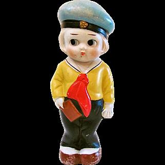 Vintage All Bisque Doll, Made In Japan, Googlie-Eyed Sailor, Big 7-Inch Kewpie-type Doll