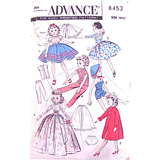 Little Miss Revlon Doll Brides Wardrobe Pattern, Uncut, Advance 8453, Size 10-1/2 Inch, Vintage 1960s