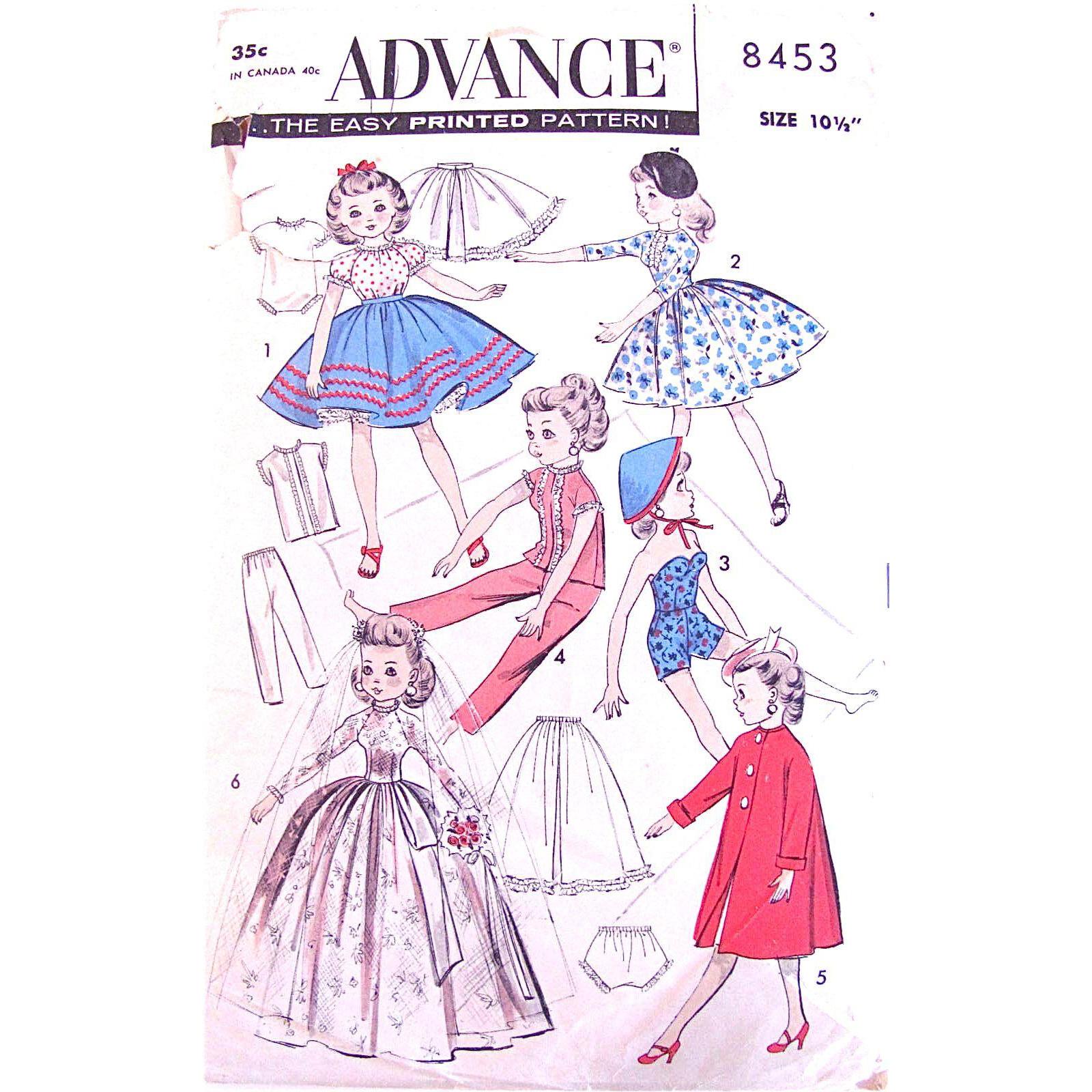 Little Miss Revlon Doll Brides Wardrobe Pattern, Uncut, Advance 8453, Size 10-1/2 Inch, Vintage 1960s