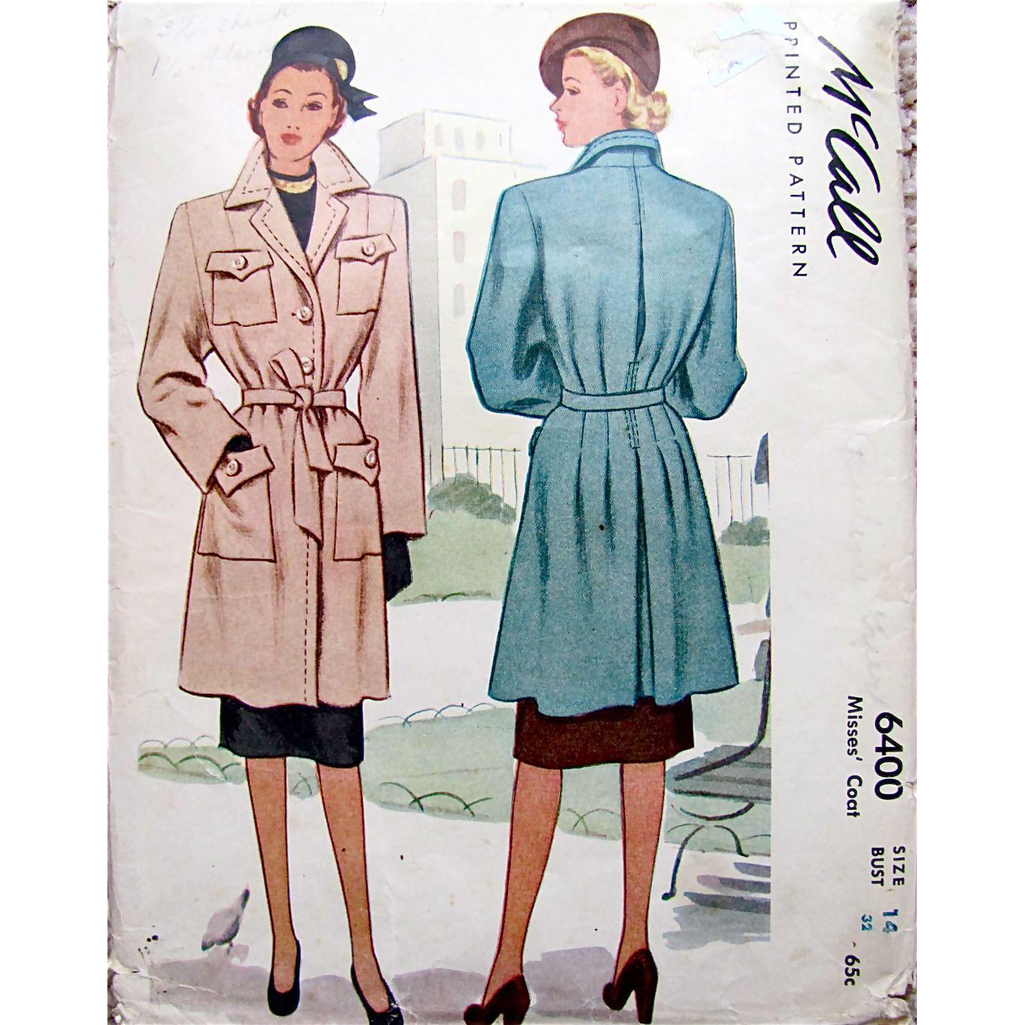 Misses' Trench Coat, Vintage Sewing Pattern Dated 1948, McCall 6400, Size 14 Bust 32 Inches, Uncut and Factory Folded