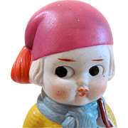 All Bisque Doll Dressed for Winter Sports, Made In Japan, Googlie-Eyed Kewpie Type, Vintage 7-Inch Doll