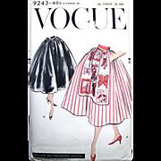 Apron Skirt Pattern, Vogue 9243, Unused, Factory Folded, Vintage 1957, Waist Size 26 Inch, Gathered Skirt, Optional Apron Front