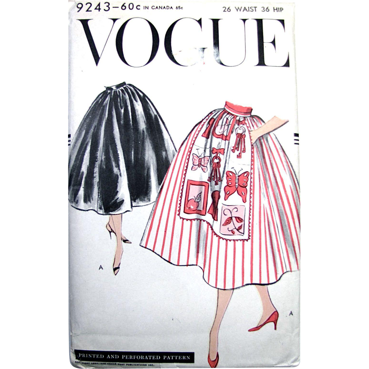Apron Skirt Pattern, Vogue 9243, Unused, Factory Folded, Vintage 1957, Waist Size 26 Inch, Gathered Skirt, Optional Apron Front