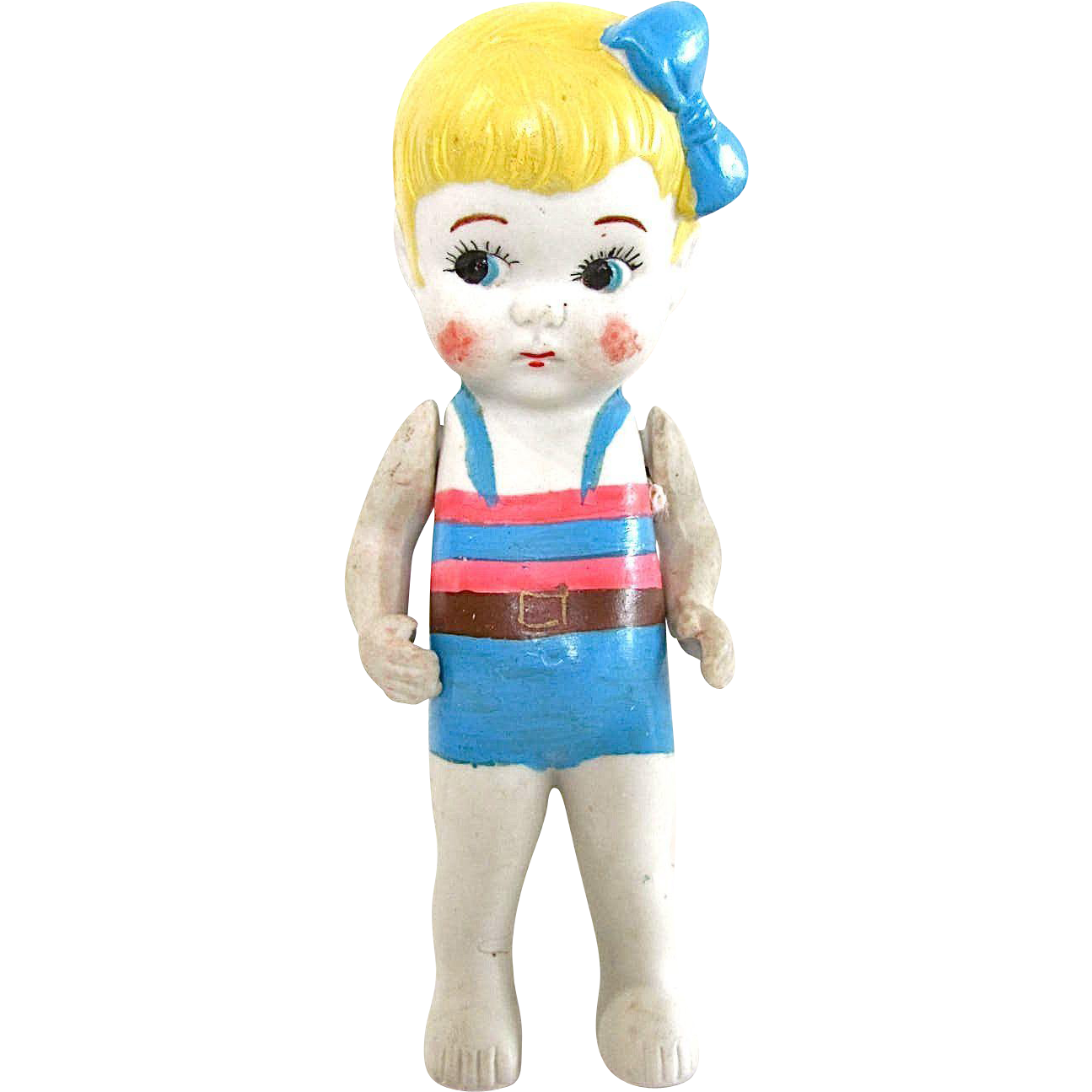 All Bisque Bathing Beauty, Wide-eyed Flapper, Made In Japan, Vintage Kewpie Type, Jointed Arms, 6.5-Inch Doll