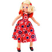 Baps Doll, Jill from Jack and Jill, Vintage 1940s German Felt Doll, Edith Von Arps