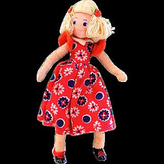 Baps Doll, Jill from Jack and Jill, Vintage 1940s German Felt Doll, Edith Von Arps