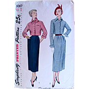 Simplicity Pattern 3087, Bolero Suit, Misses' Size 14, Uncut and Factory Folded, Vintage 1950s, Jacket and Front-Pleat Skirt, Bust 32 Inches