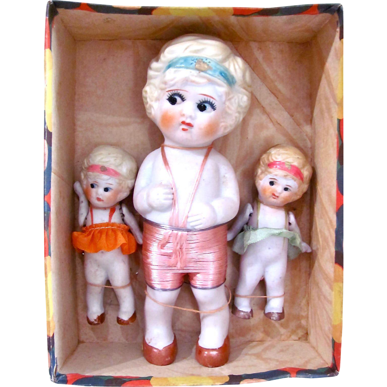 Set of 3 All Bisque Kewpie-Type Dolls Never Removed From Original Box, Wide-eyed Flappers, Made In Japan, Vintage 1920s
