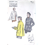 1950s Coat or Jacket, Unprinted Pattern, Vogue 6629, Factory Folded, Size 14, Bust 32 Inches