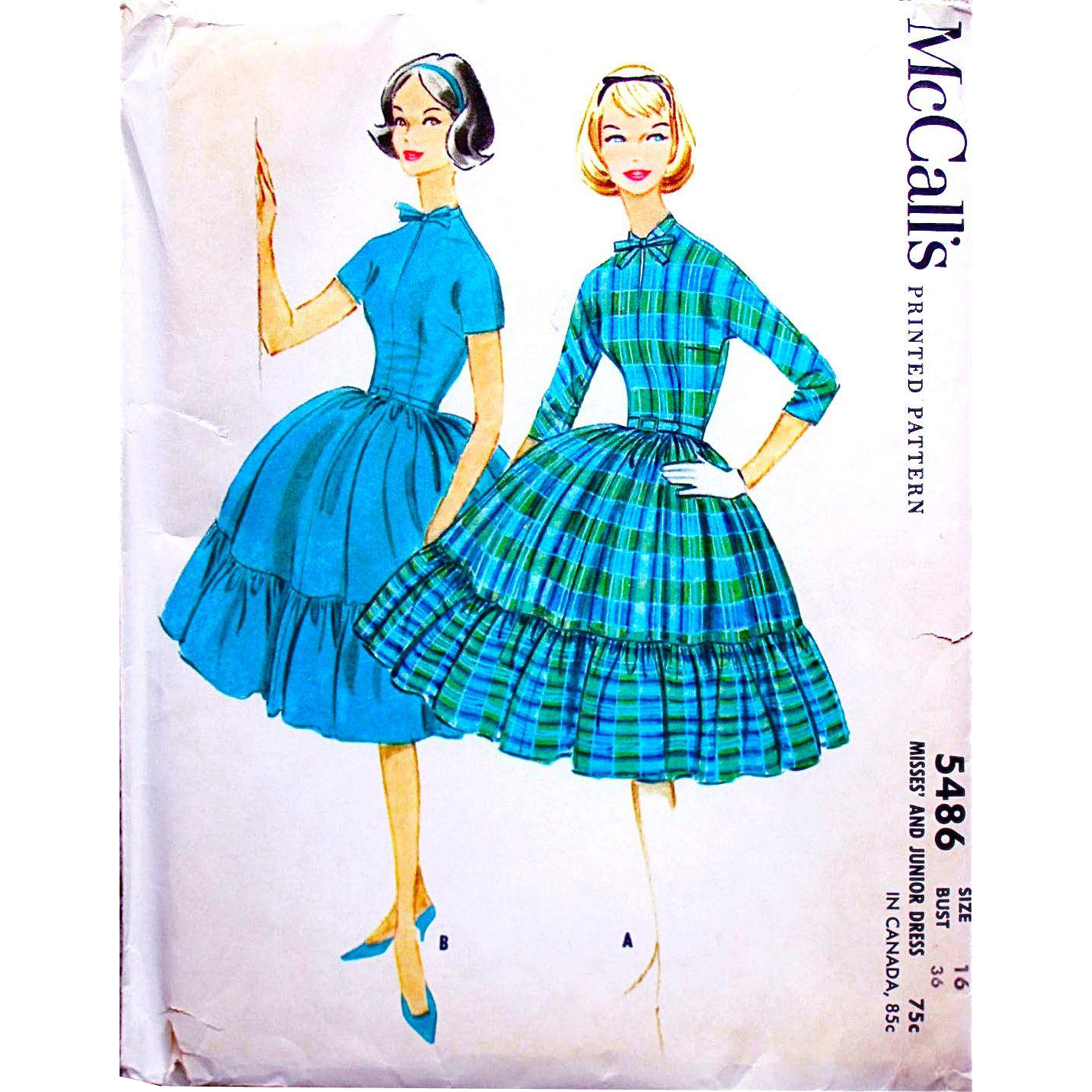 McCall's 5486, Misses' Dress with Full Flounced Skirt, Uncut, Factory Folded Sewing Pattern, Size 14, Bust 36, Vintage 1960