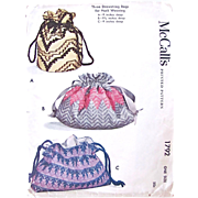 McCall's Pattern 1792, Three Drawstring Bags, Uncut and Factory Folded, Vintage 1953