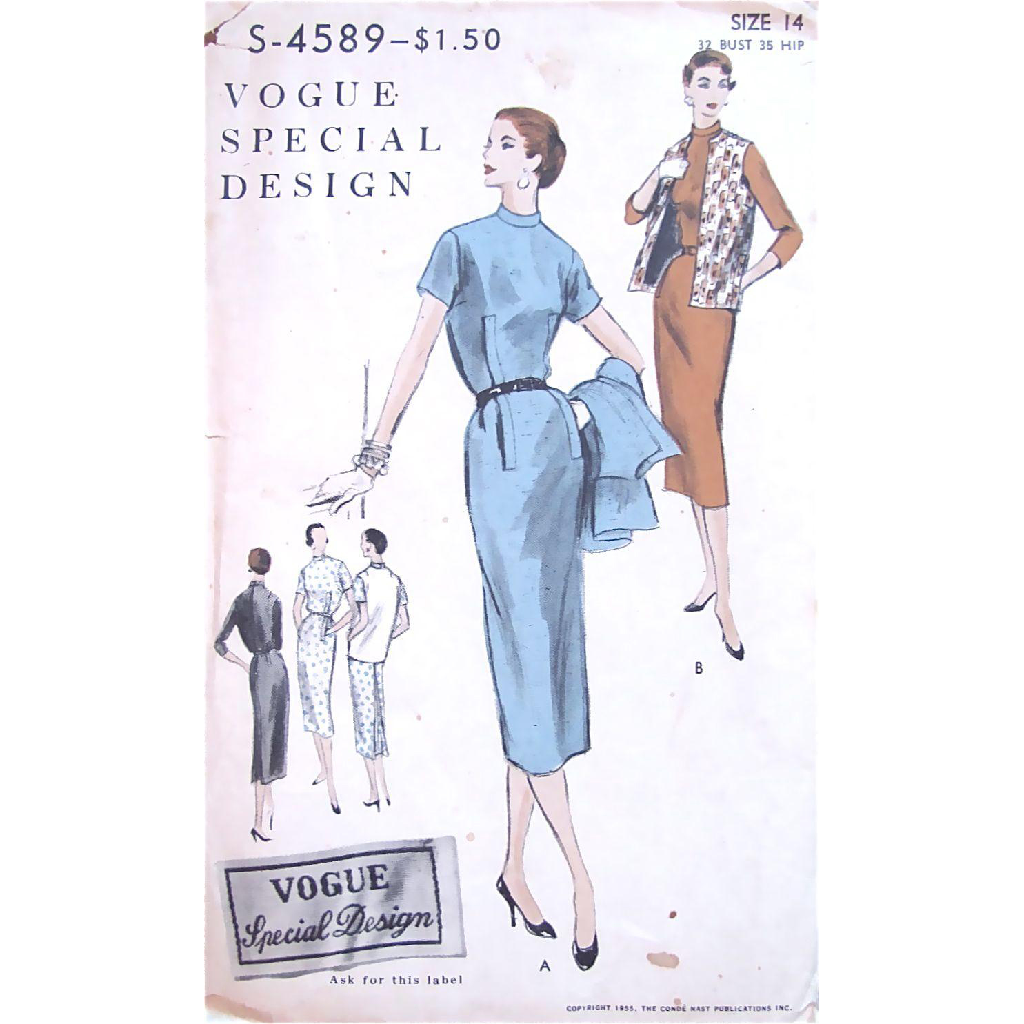 Vogue Special Design Sewing Pattern 4589, Uncut, Factory Folded, Women's Dress and Jacket, Size 14, Bust 32, Vintage 1955