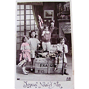 Vintage French Postcard, Tinted RPPC, Boys, Girls, Toys, Dolls, Happy New Year