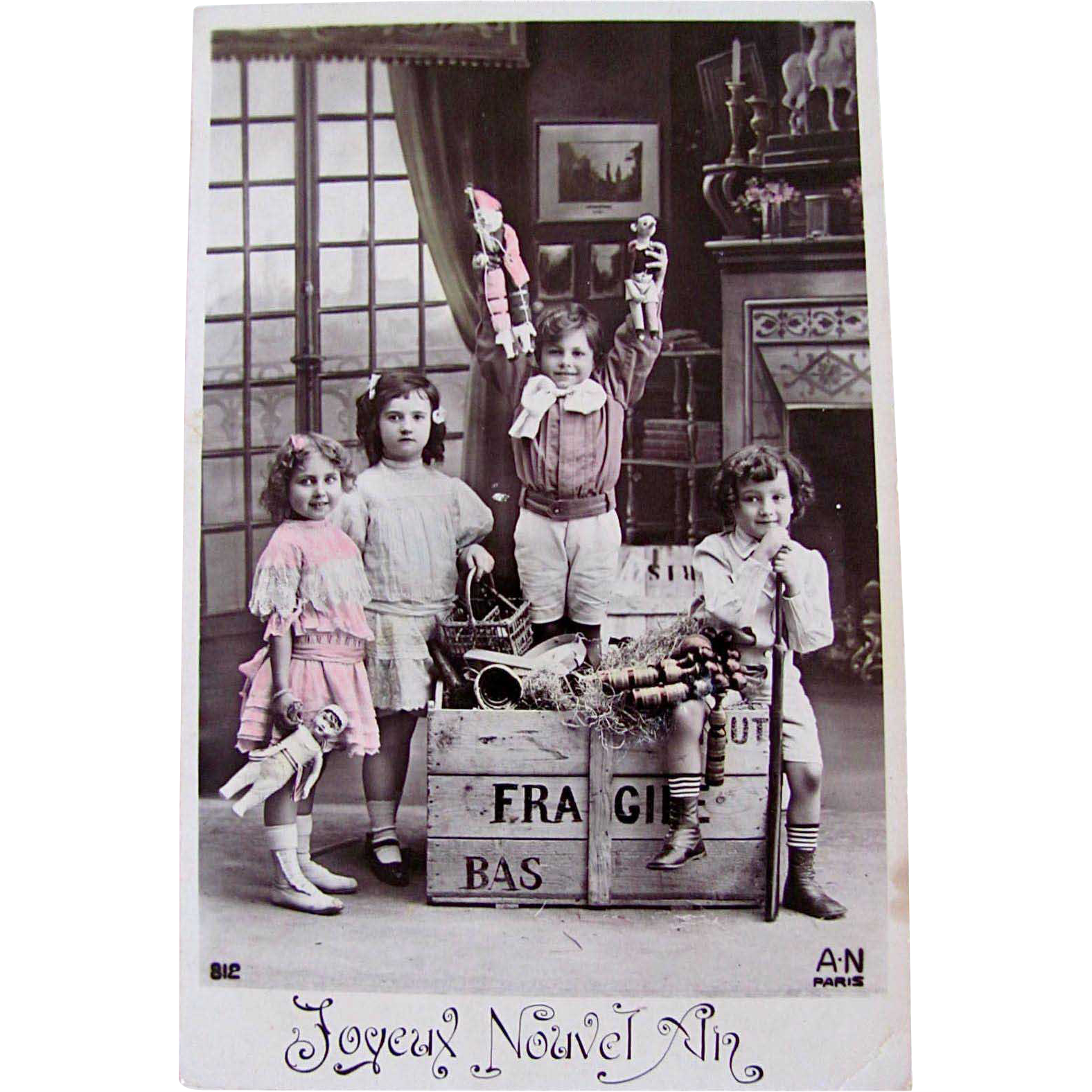 Vintage French Postcard, Tinted RPPC, Boys, Girls, Toys, Dolls, Happy New Year
