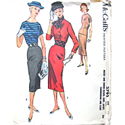 McCall's Pattern 3792, Uncut, Size 15, Pencil Skirt, Jacket, Cummerbund and Scarf, Vintage 1956