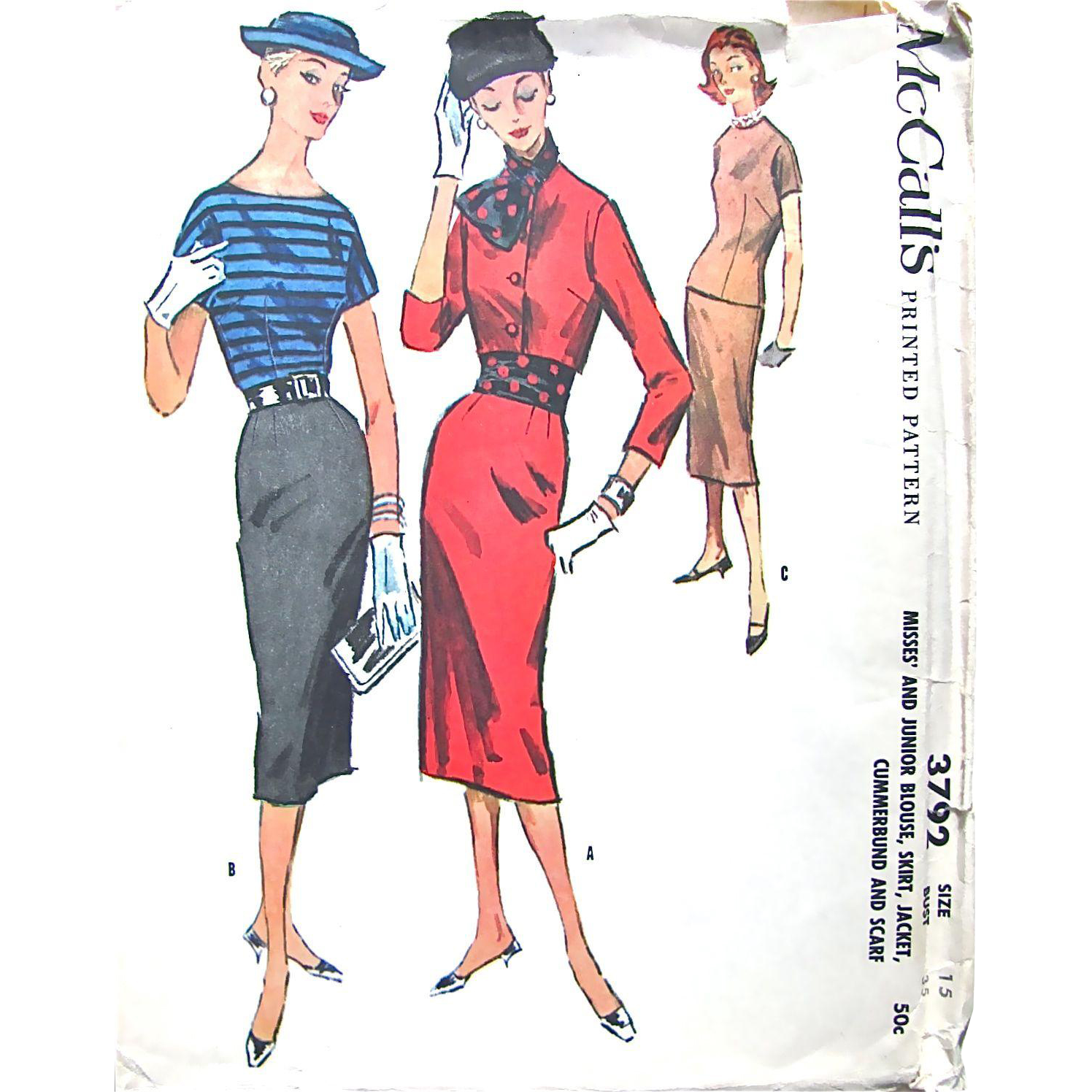 McCall's Pattern 3792, Uncut, Size 15, Pencil Skirt, Jacket, Cummerbund and Scarf, Vintage 1956