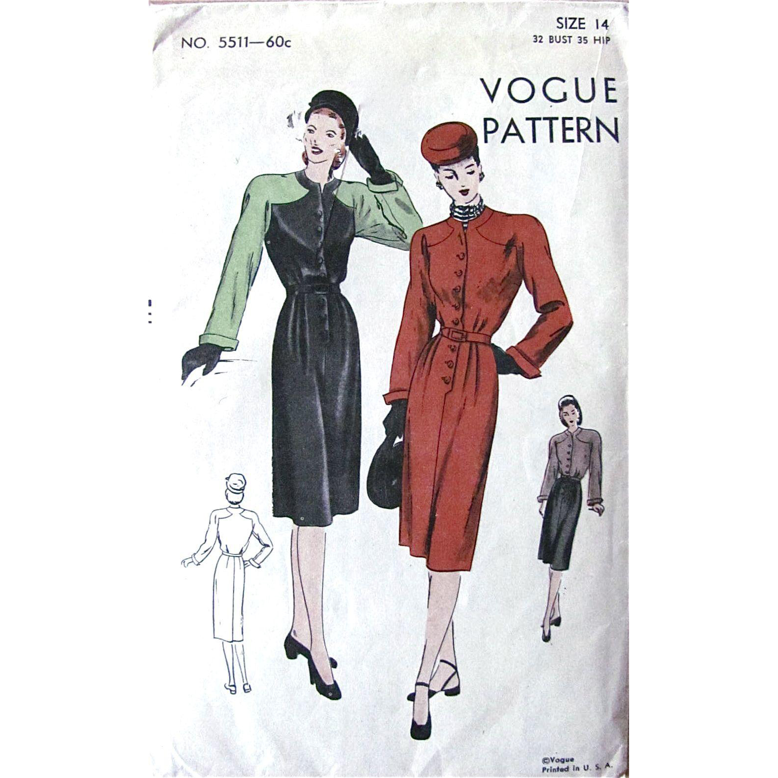 1940s Dress Pattern, Vogue 5511, Unused Factory Folded, Misses Size 14 Bust 32, Vintage 1940s