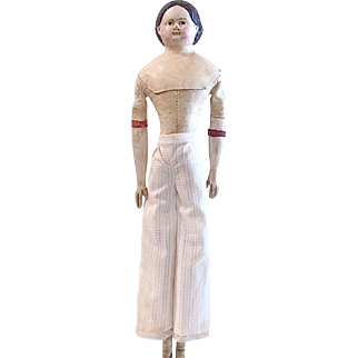 Milliners Model, German Paper Mache, 17-Inch Doll with Original Leather Body, Wood Arms, Legs and Feet