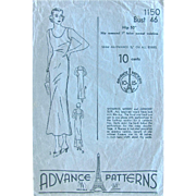 Vintage 1930s Sewing Pattern Advance 1150 Womens Slip in Two Lengths Bust Size 46 Inches