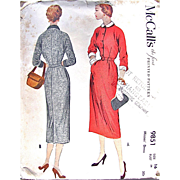 Uncut Misses' Sheath Dress, Uncut, Factory Folded, Vintage 1954 Sewing Pattern,  McCall's 9851, Size 16 Bust 34
