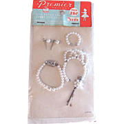 Premier Doll Jewelry, Necklace, Earrings, Bracelet, Tiara, Hair Pin, for Barbie and Tammy Type Dolls, MIP, Vintage 1960's