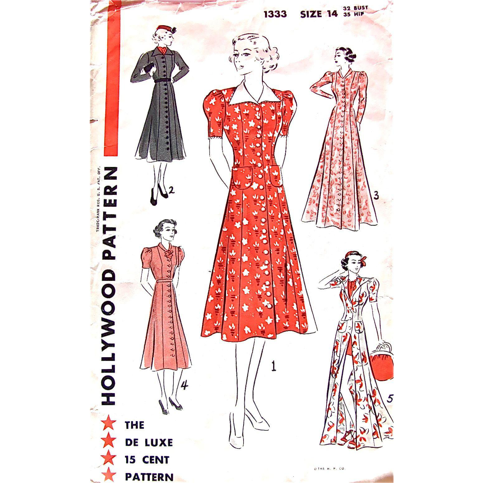 Hollywood Pattern 1333, Misses' House Dress, Coat Dress, House Coat, Frock or Beach Coat, Size 14, Bust 32, Vintage 1930s