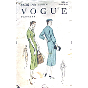 Vogue Pattern 8630, Vintage 1955, Misses' Semi-Fitted Dress, Unprinted Pattern, Unused, Factory Folded, Size 14 Bust 32