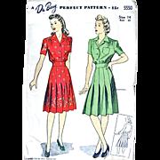 Du Barry Pattern 5550, Misses One-Piece Dress, Size 14 Bust 32, Vintage 1943, Cut and Complete
