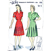 Du Barry Pattern 5550, Misses One-Piece Dress, Size 14 Bust 32, Vintage 1943, Cut and Complete