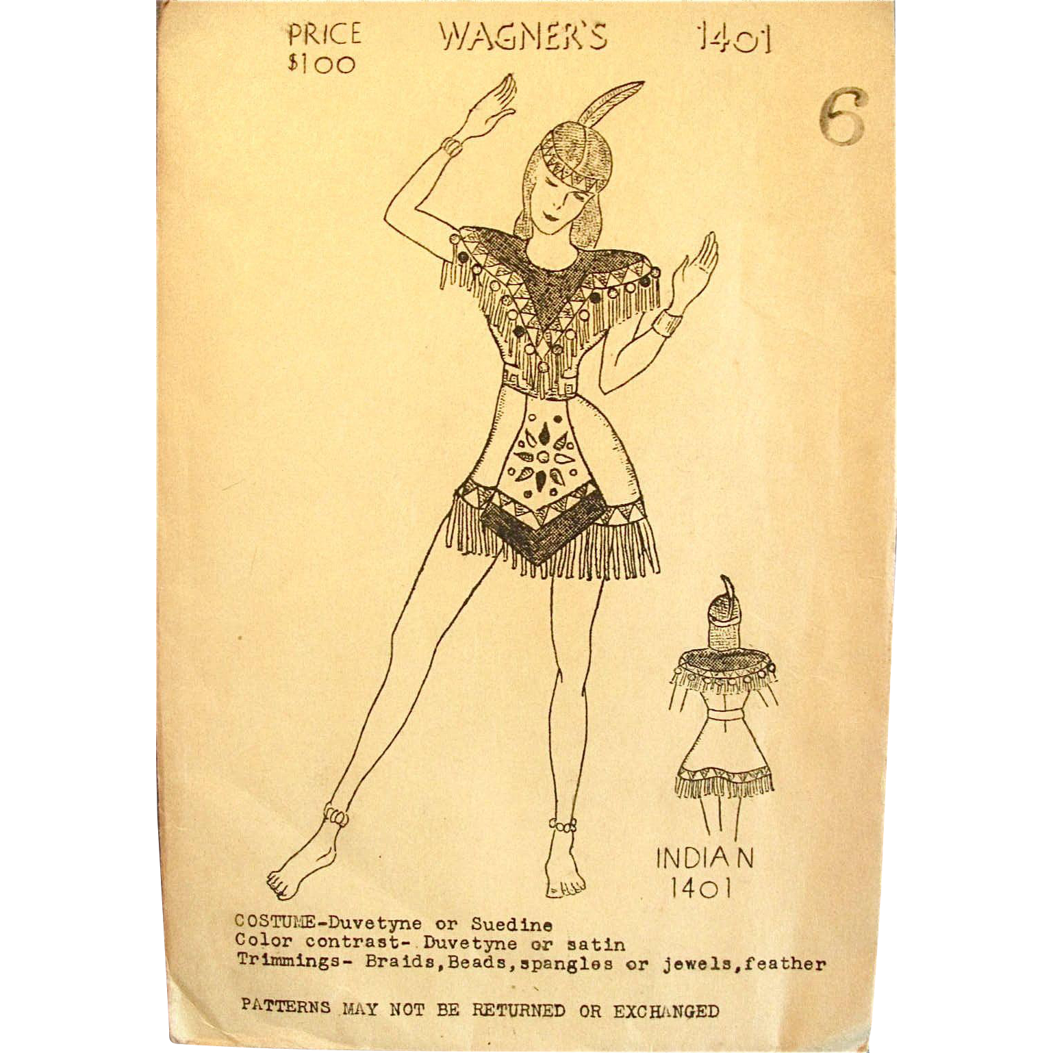 1930s Halloween or Dance Costume Pattern, Indian Maiden, Wagners 1401, Unopened and Unused, Girls Size 6