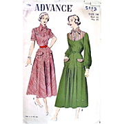 Advance Pattern 5112, Misses One-Piece Day Dress, Size 14 Bust 32, Vintage 1940s, Complete