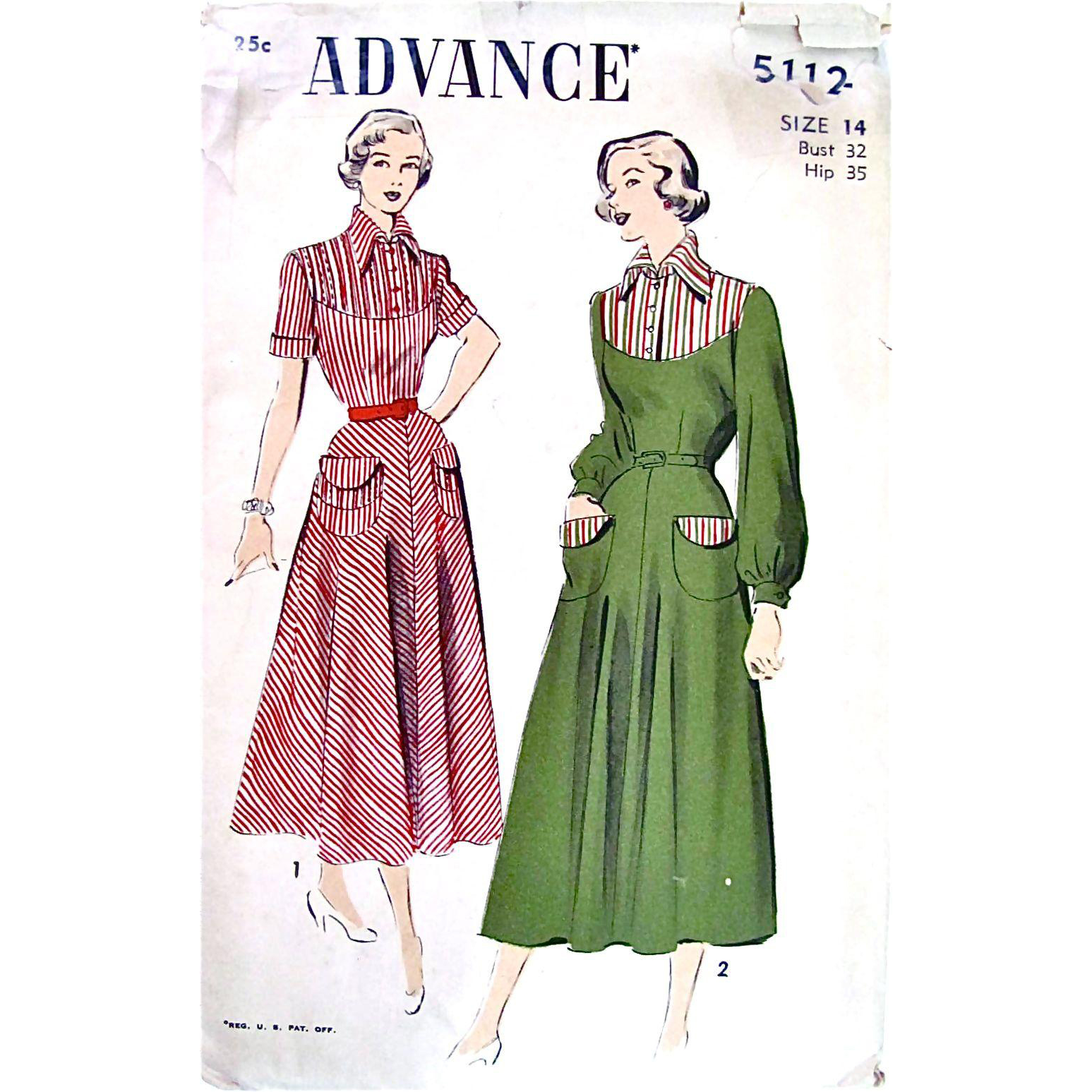 Advance Pattern 5112, Misses One-Piece Day Dress, Size 14 Bust 32, Vintage 1940s, Complete