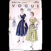 Misses One-Piece Dress Pattern, Vogue 8157, Vintage 1954, Uncut and Factory Folded, Size 16, Bust 34