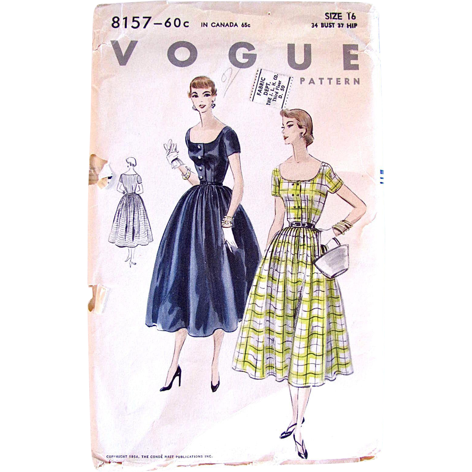 Misses One-Piece Dress Pattern, Vogue 8157, Vintage 1954, Uncut and Factory Folded, Size 16, Bust 34