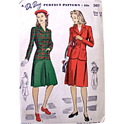 Du Barry Pattern 5417, Misses 2-Piece Suit, Skirt and Jacket, Size 12 Bust 30, Vintage 1942, Factory Folded