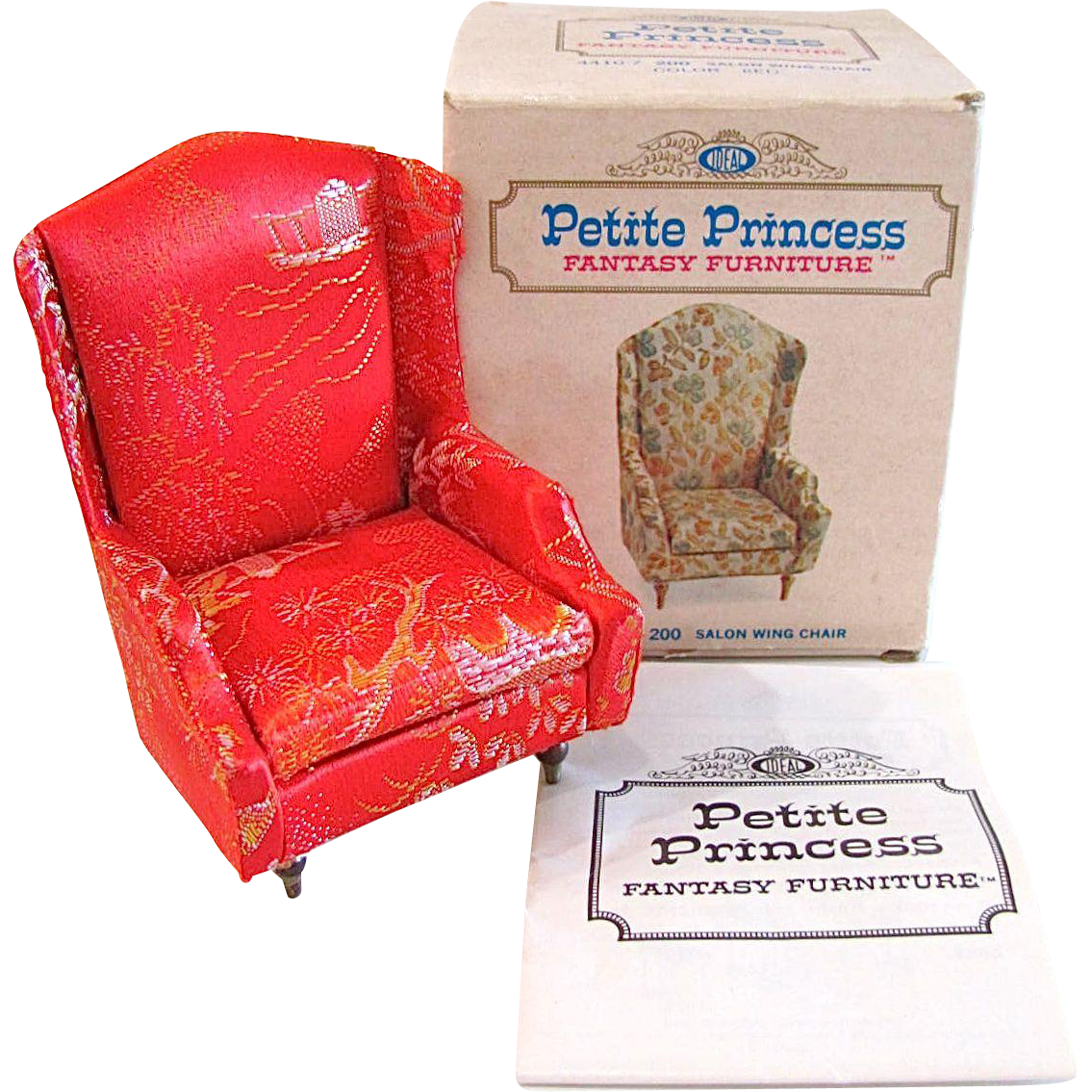 Ideal Petite Princess Red Salon Wing Chair In Original Box With Brochure Vintage 1960s