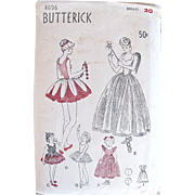 Costume Pattern, Ballet Dancer, Flowers, Fairy, Butterick 4696, Complete and Unused, Girls Size 10 to 12, Bust 30 inches, Vintage 1940s