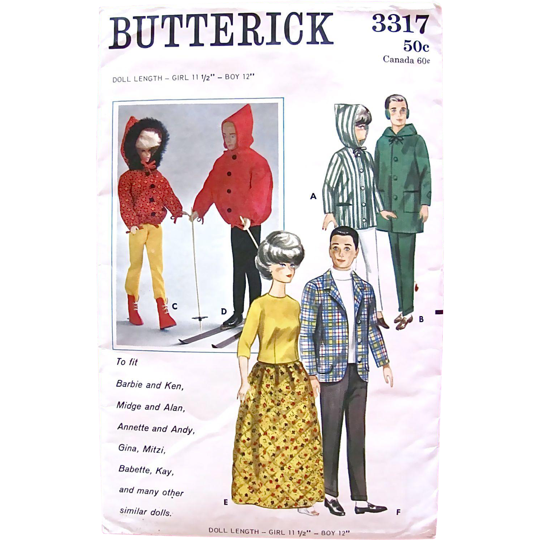 Butterick 3317 Barbie and Ken Dolls Wardrobe Pattern Complete Vintage 1960s