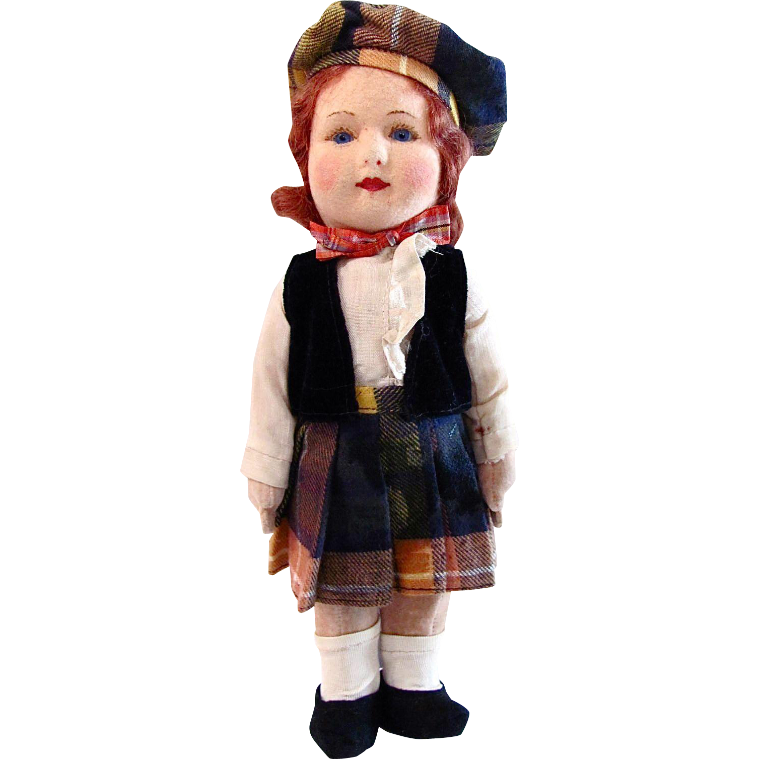 British Cloth Doll in Costume of Scotland Vintage 1930s