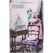 My Doll's Day, Hand Tinted French Real Photo Postcard, Little Girl, French Doll, Brass Doll Bed, Circa Early 1900s