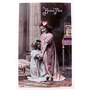 Happy Birthday, Hand Tinted French Real Photo Postcard, Little Girl Dancing with Large Doll, Vintage 1910s