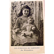 French Real Photo Postcard, Young Girl Holding French Doll, Postmarked 1905