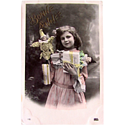 French Hand Tinted Real Photo Postcard, Happy New Year, Little Girl, Dolls and Bon Bons, Vintage 1910s