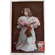 Hand Tinted French Real Photo Postcard, Bonne Année, Little Girl, Doll, Toys and Gifts, Vintage 1910s
