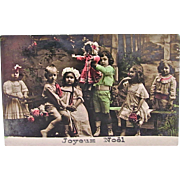 Hand Tinted French Real Photo Postcard, 6 Children with Doll and Flowers, Joyeux Noël, Dated 1915
