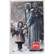 Santa in Blue Robe, Tinted French Real Photo Postcard, Doll-like Girl, Pine Boughs, Joyeux Noël, Vintage 1910s